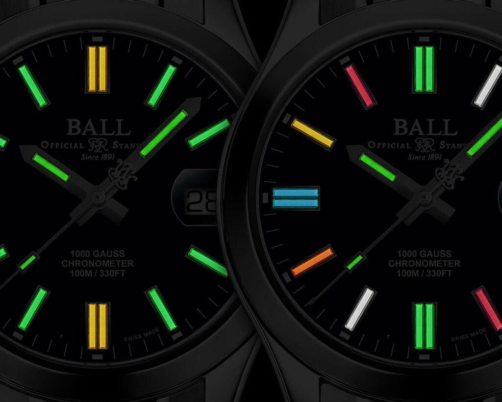 The Ball Watch Engineer III Legend II dial luminosity in the dark