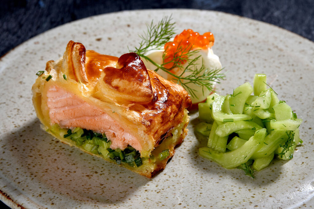 The Wellgate salmon loin and smoked leeks wrapped in a butter puff pastry crus