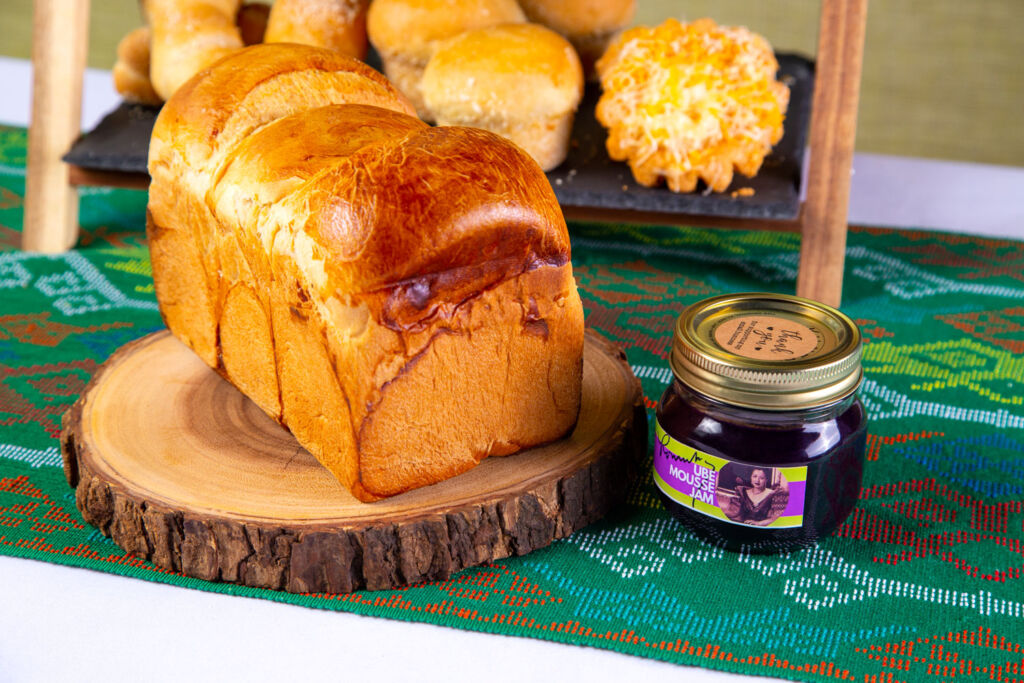 Filipino Pandesal loaf with purple yam jam