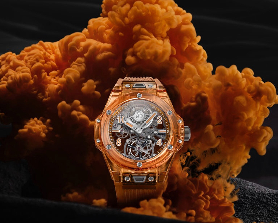 The dial on the Hublot Big Bang Tourbillon Automatic Orange Sapphire