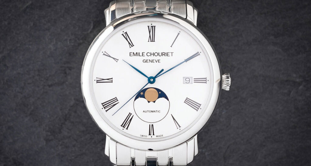The dial of the Emile Chouriet Lac Léman Classic Moonphase