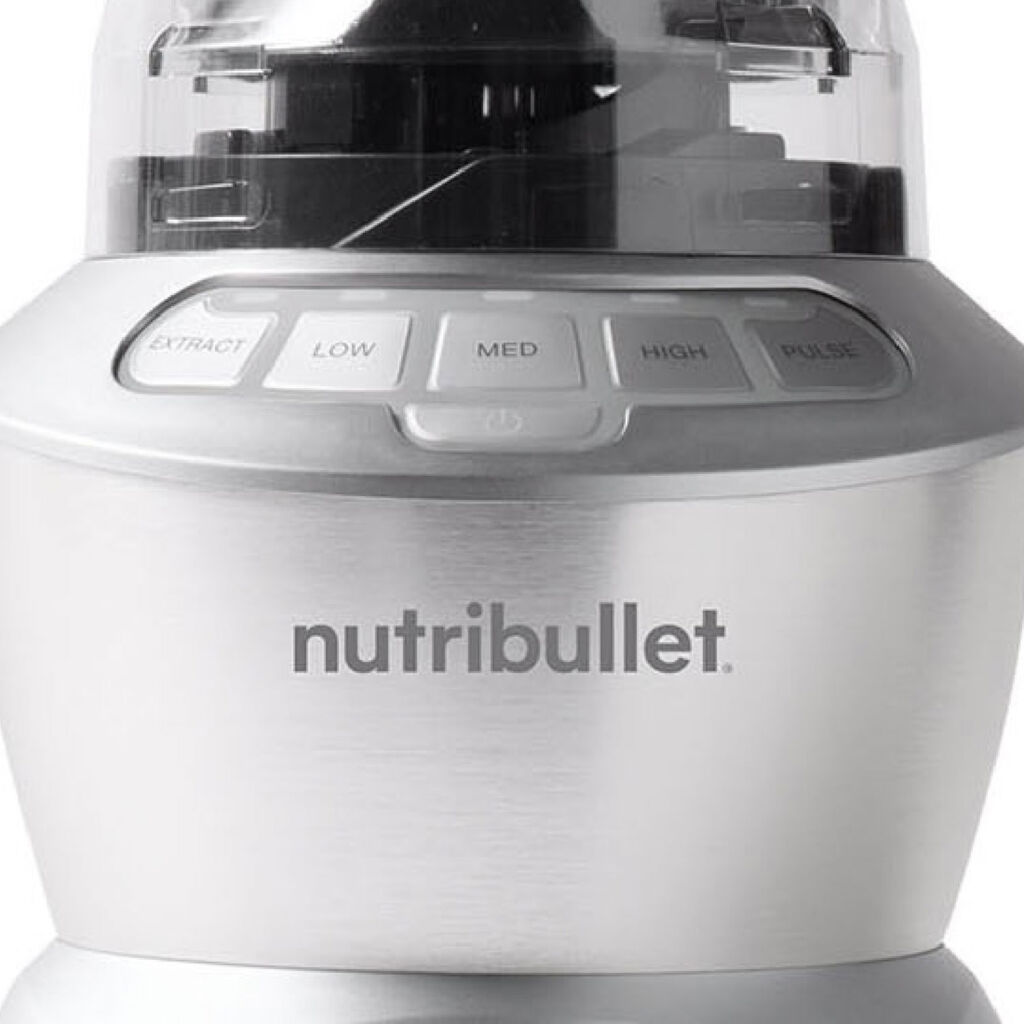 A closeup view of the Nutribullet showing the buttons