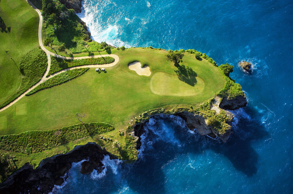 Aerial view over the Playa Grande golf course in the Dominican Republic