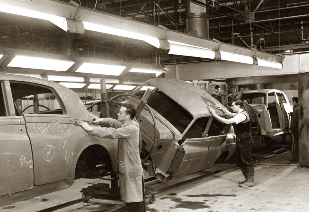 People working on the production line in the 1950s