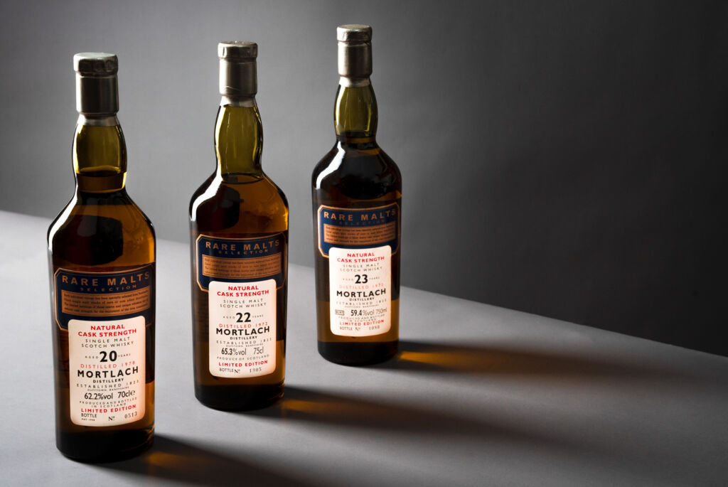 Bottles from the Mortlach Rare Malts Collection