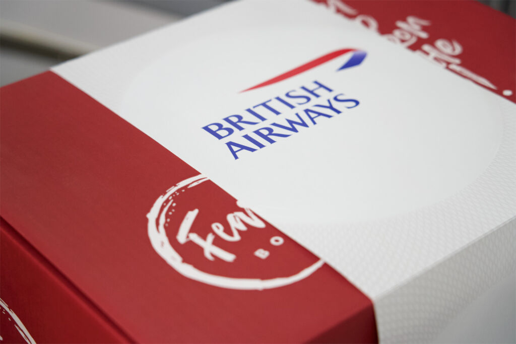 British Airways First Cabin Meal Kits packaging is recylable