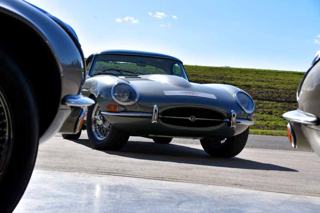 Collection of restored E-type Jaguar cars