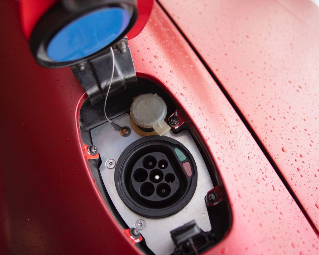 Electric charging socket inside a classic Porsce 911