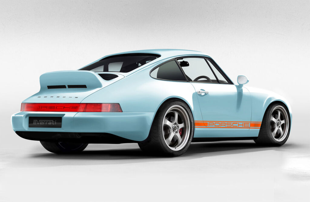 Three quarter rear view of one of the Gulf Oil liveried 911s