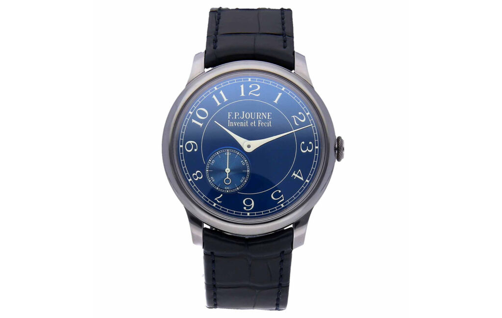 The dial of the F.P. Journe Chronometre Bleu