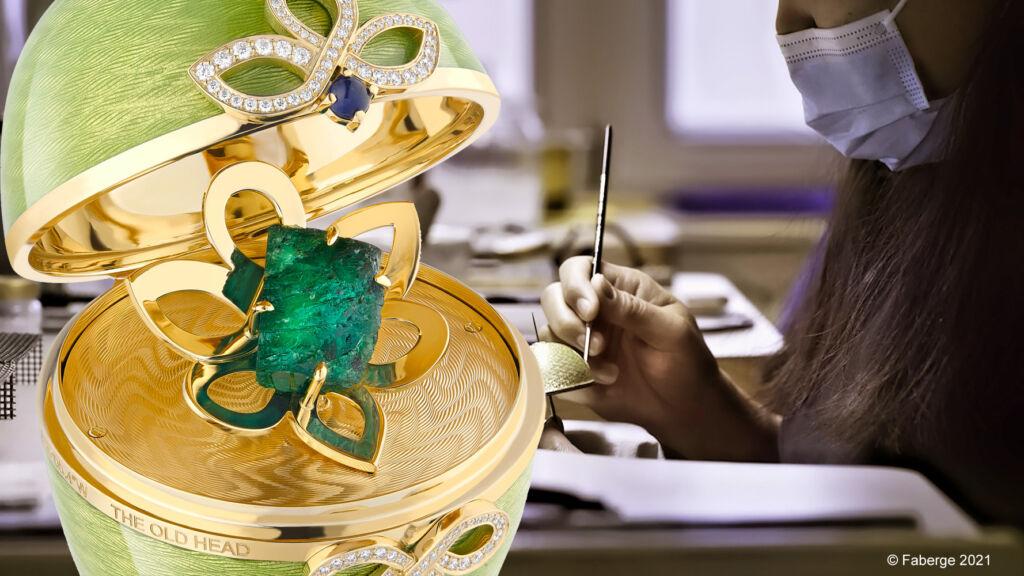 Faberge craftsman making the top of the Emerald Isle Bepoke Egg