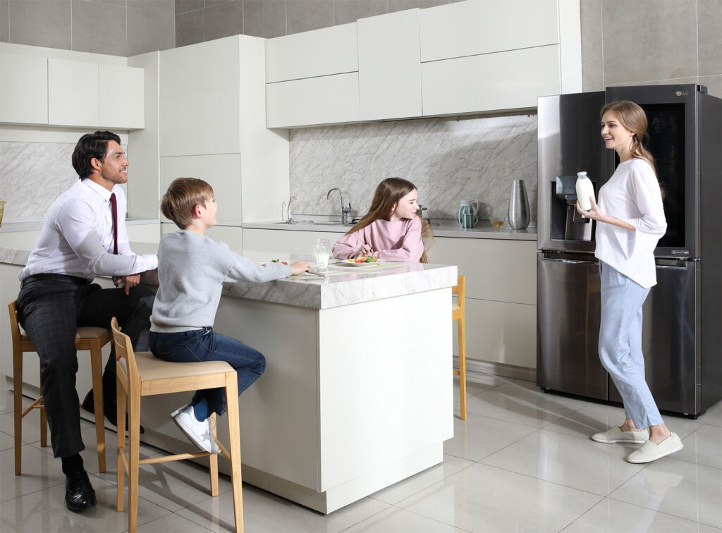 Family breakfast-time in the kitchen