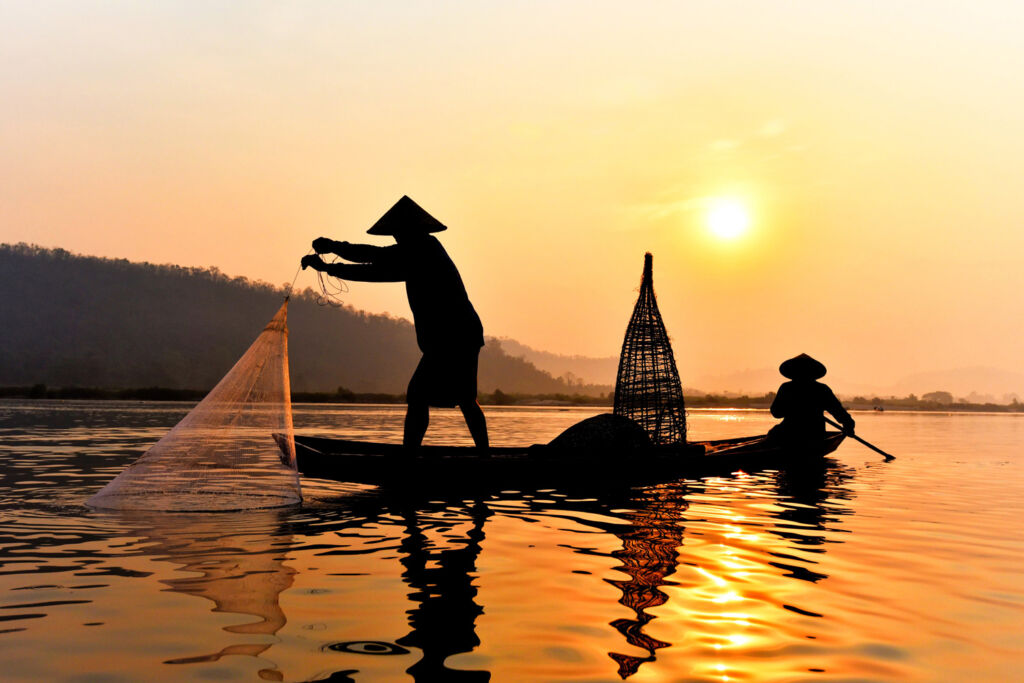 Fisherman on a Cambodian river