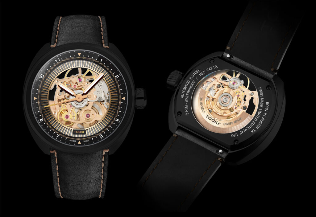 Front and rear view of the Tockr C-47 Dark Spirit skeleton watch