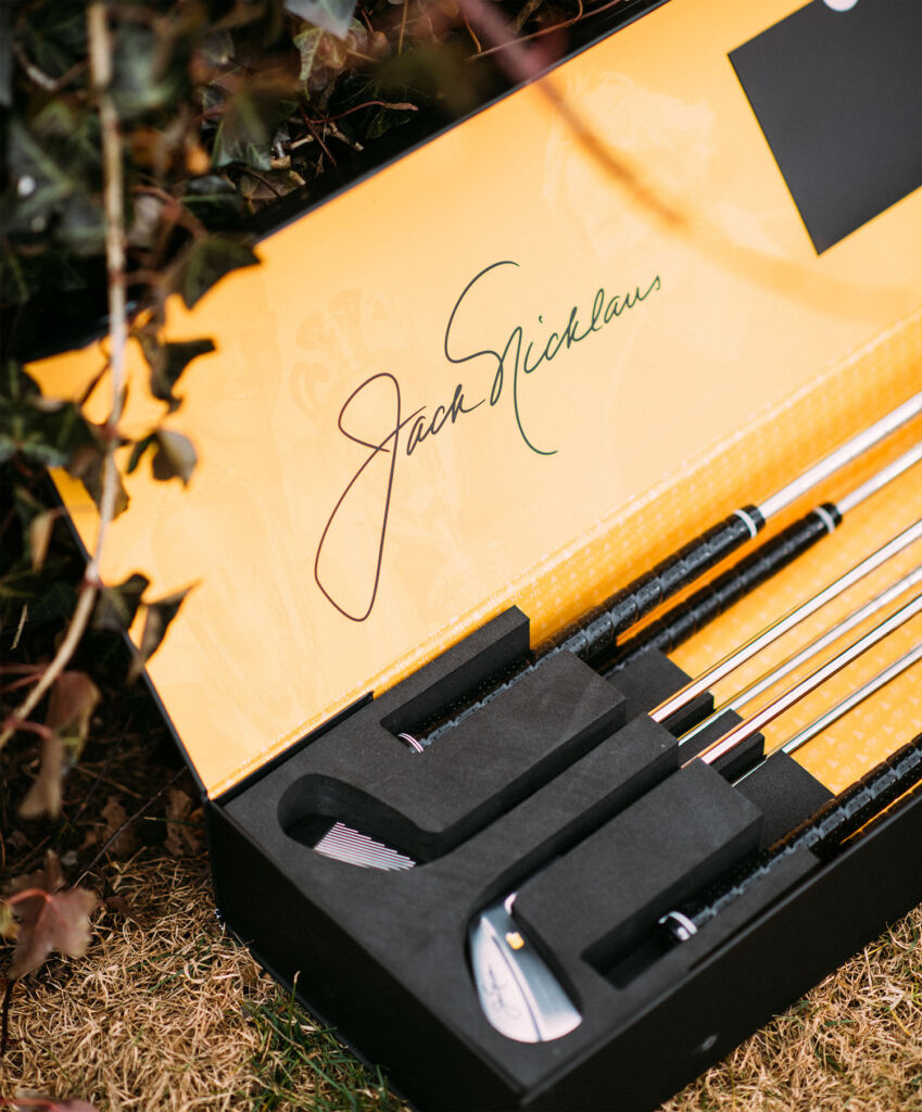 Jack Nicklaus' signature inside the box containing the Nicklaus-Miura Commemorative Irons