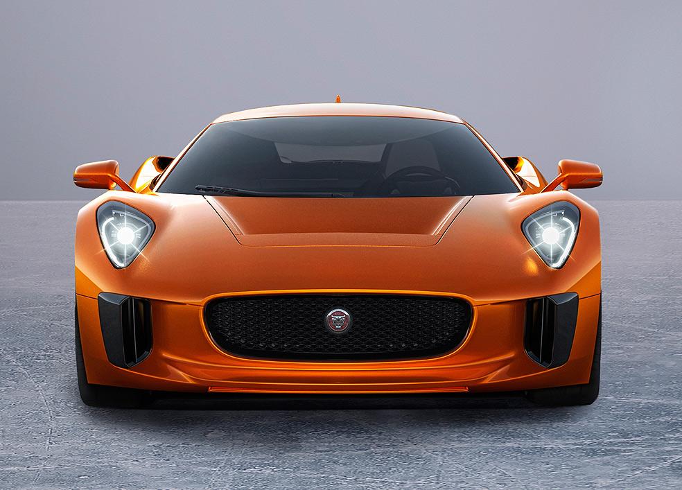 Jaguar C X75 in orange front profile