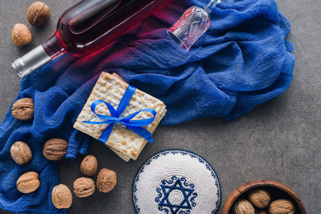 Nuts, crackers and a bottle of kosher wine to celebrate Passover