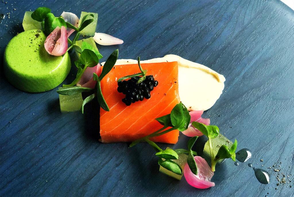 Lightly smoked salmon served with Oscietra caviar