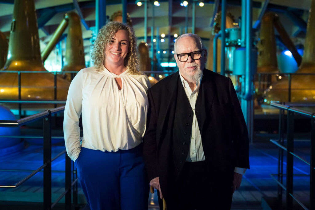 Macallans Sarah Burgess with Sir Peter Blake