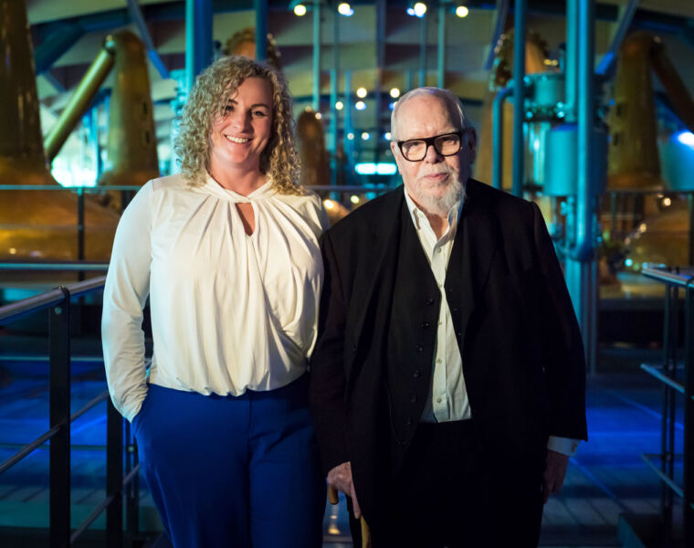 Macallans Sarah Burgess with Sir Peter Blake