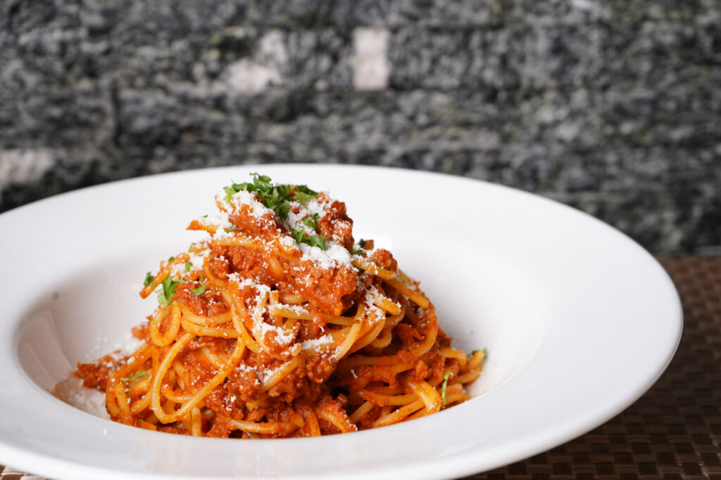 A tasty plate of spaghetti bolognese