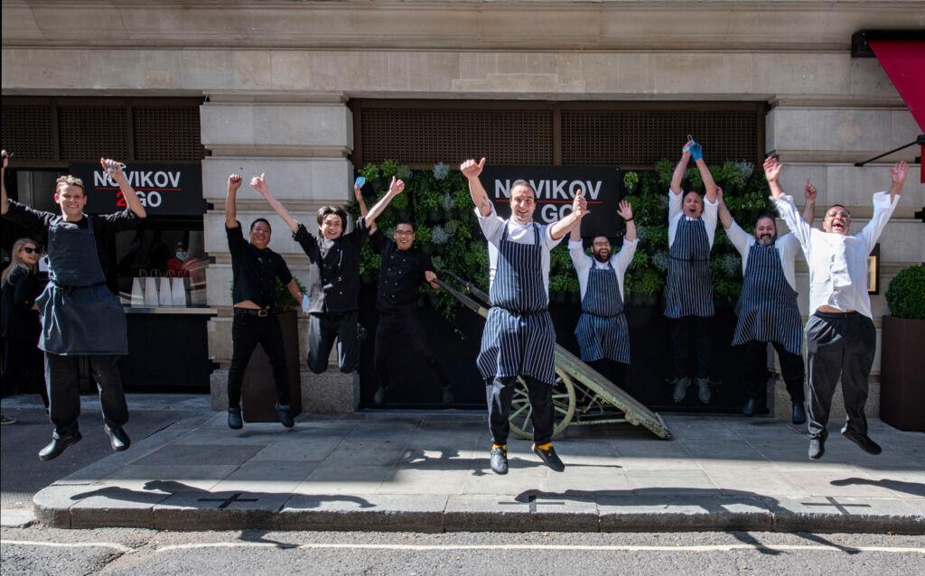London's Novikov Restaurant & Bar team celebrating the imminent end of lockdown