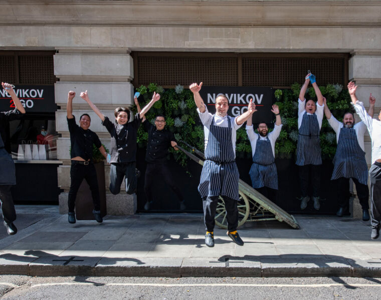 London's Novikov Restaurant & Bar team celebrating the imminent end of lockdown