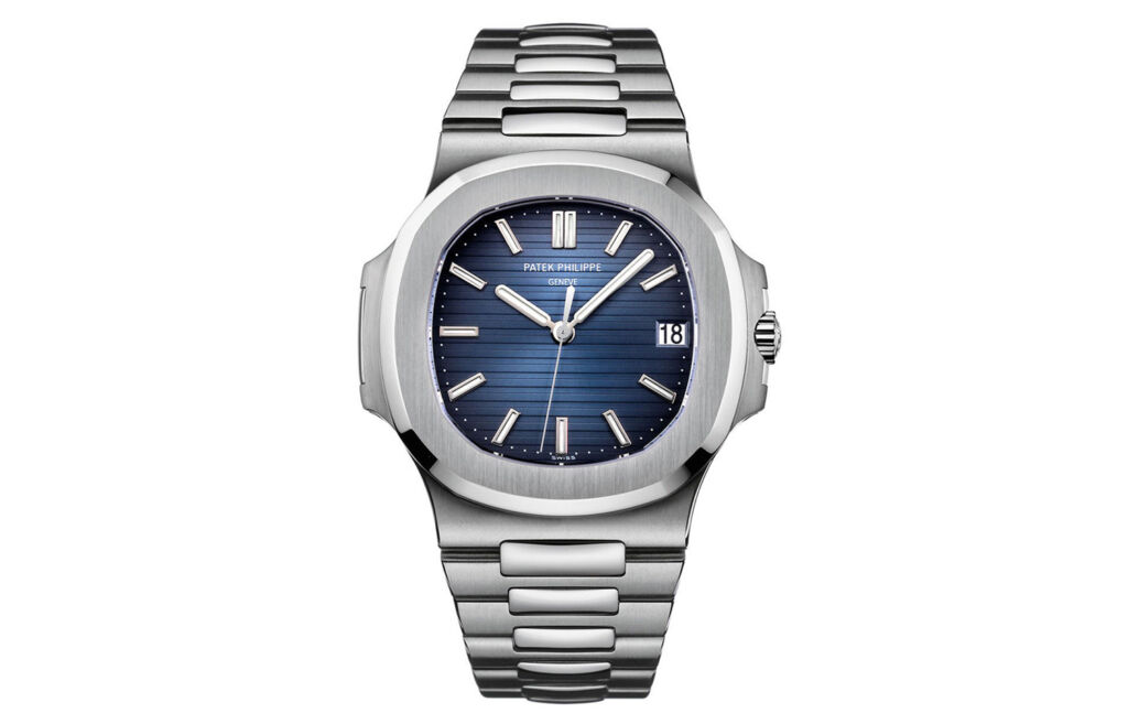 A front view of the Patek Philippe 5711 on a white background