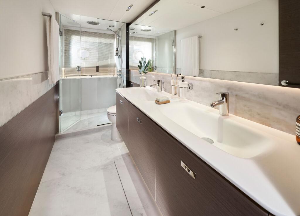 Inside the luxurious stateroom bathroom