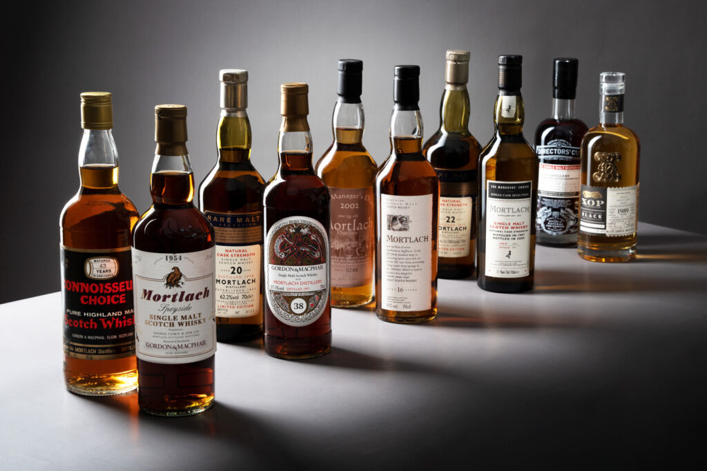 Some of the bottles in Pat's Mortlach Whisky collection