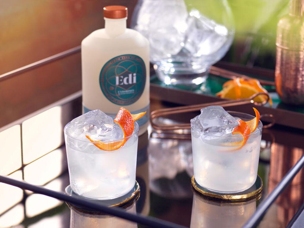 Two glasses of Spirited Eurphoria with slices or orange peel