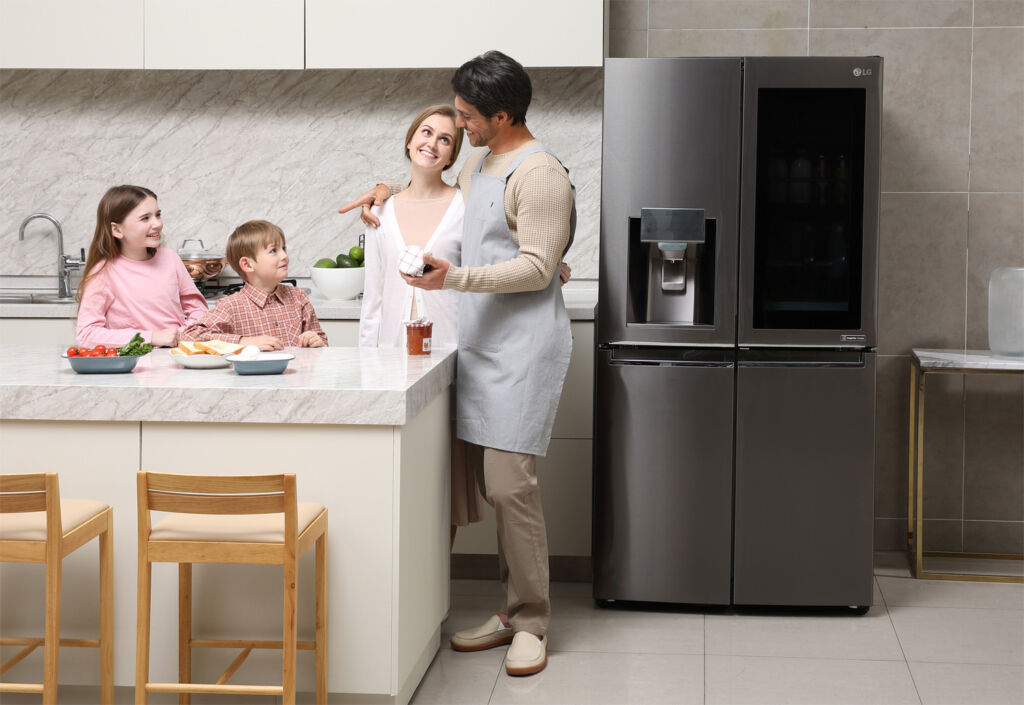 The LG InstaView Refrigerator at first glance looks like any other model without its special feature engaged