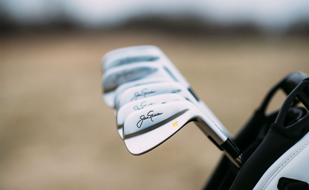 A set of the Jack Nicklaus Miura irons in a golf bag