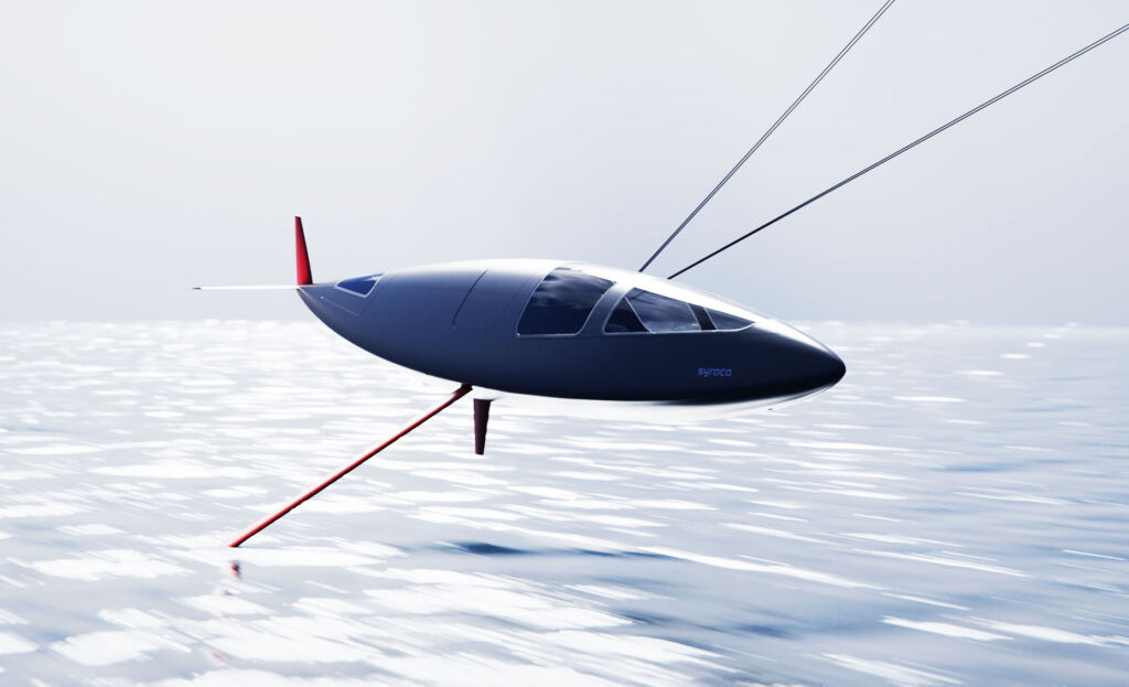 The Syroco speedcraft flying above the top of the water