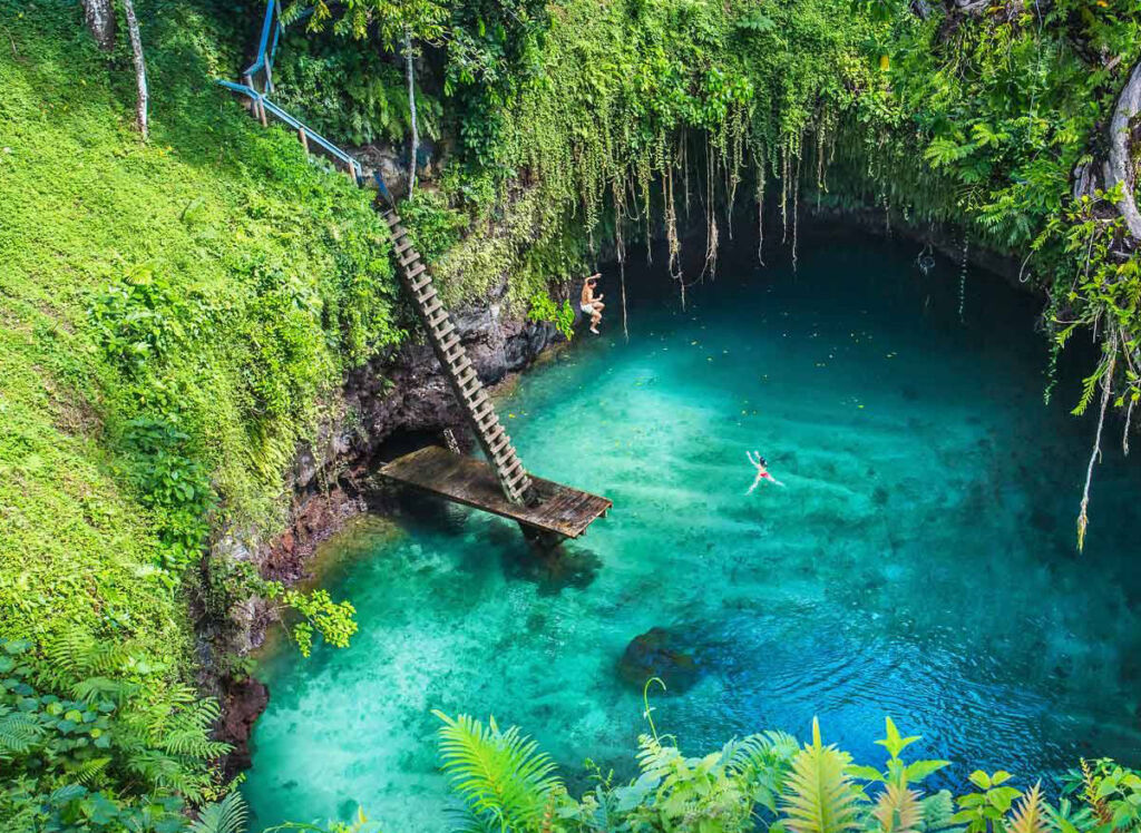 A beautiful natural swimming hole in Samoa