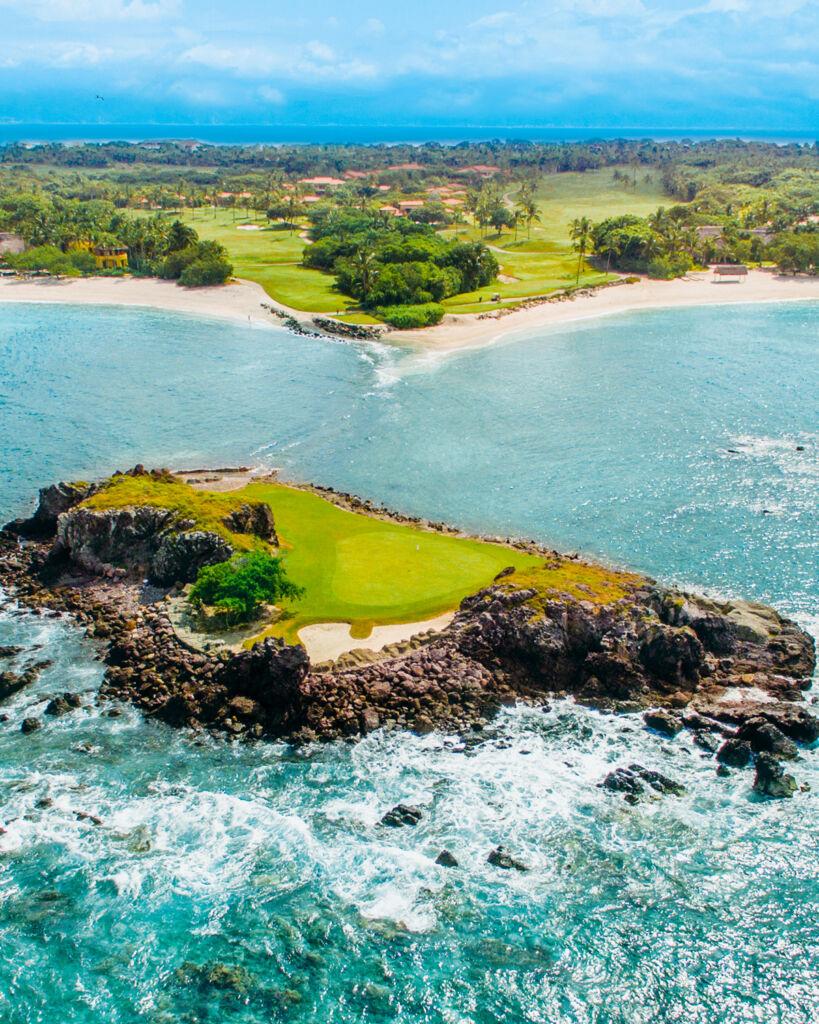 The natural island hole at Pacifico golf course Punta Mita