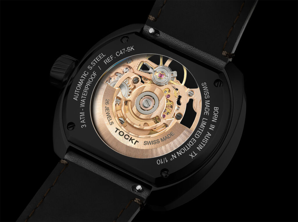 Tockr C-47 Dark Spirit skeleton watch caseback showing the movement in more detail