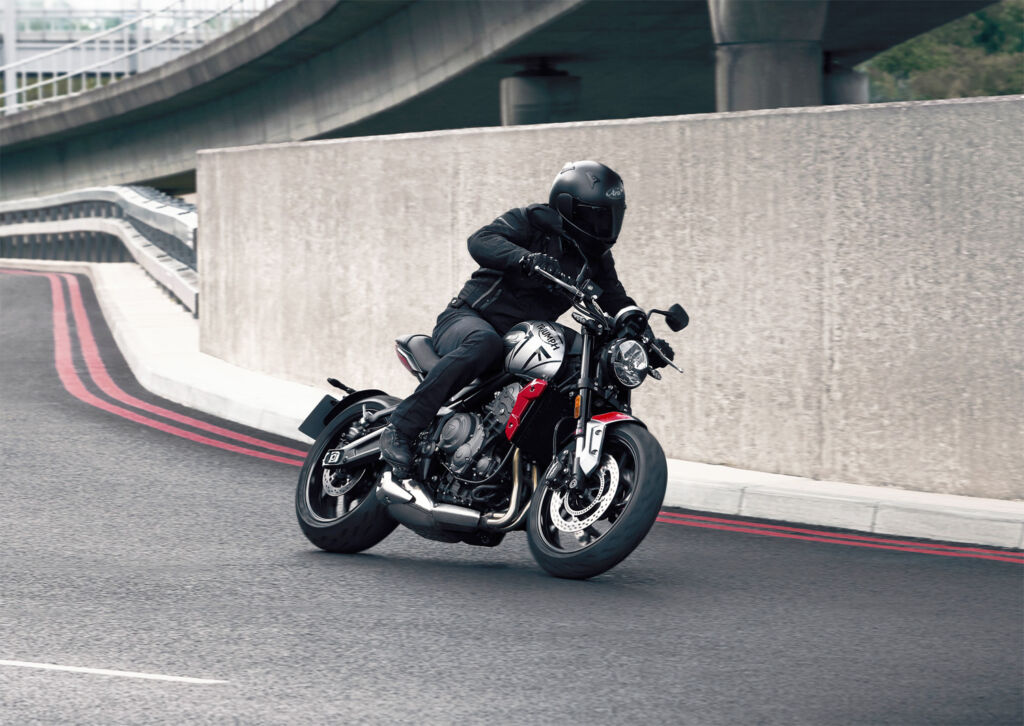 The motorcycle cornering on a downhill road