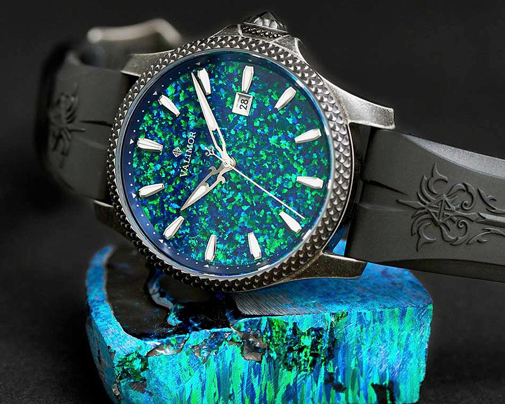 One of the Valimor watches with a predominantly green dial
