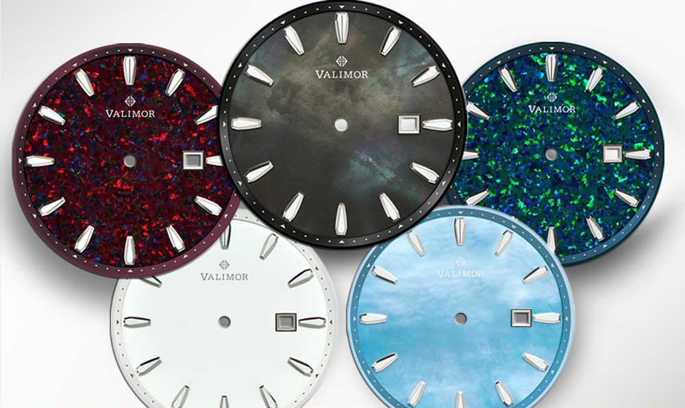 Image showing the five dial options in the new watch collection