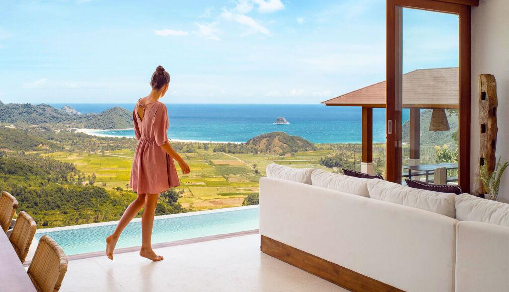 A woman enjoying the increidble views from a hilltop villa