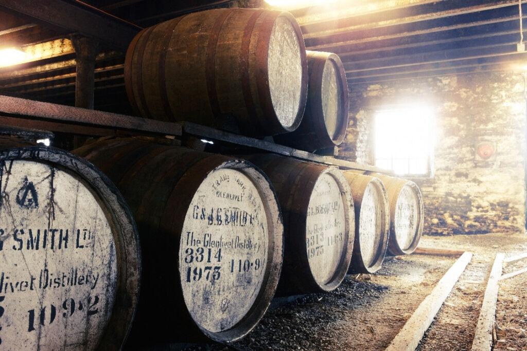Whisky barrels in the Glenlivet Distillery