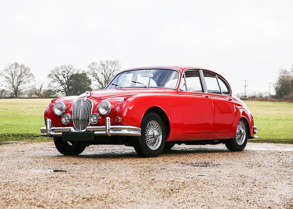 A 1959 Jaguar MKII in red