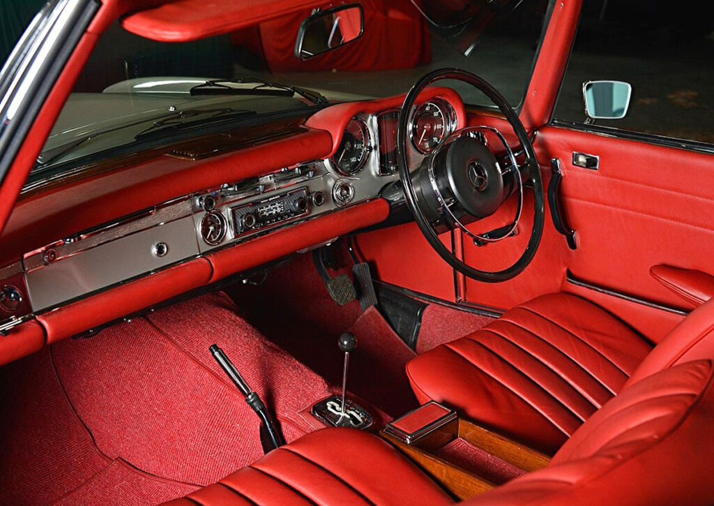 The red leather interior of the record setting SL
