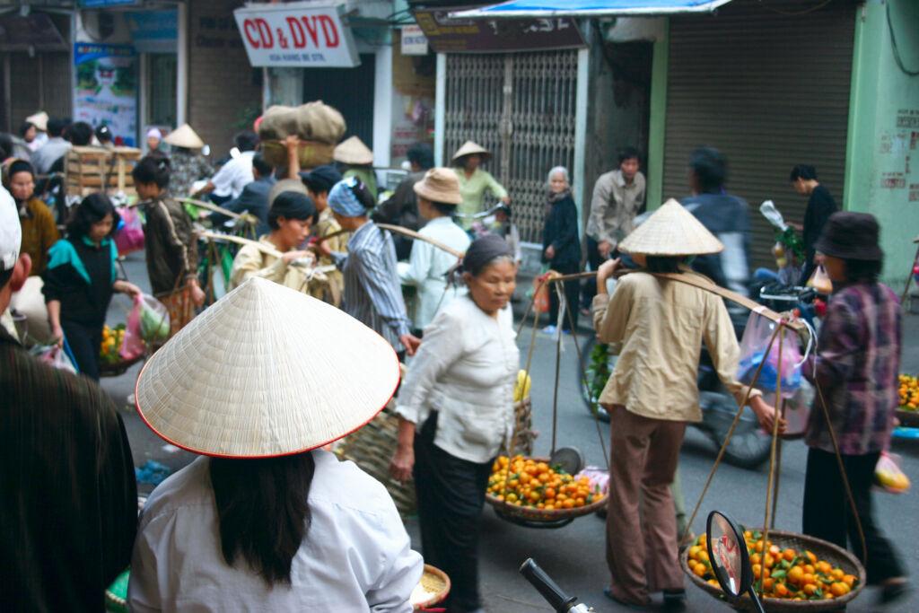 A bustling market in Hanoi Vietnam