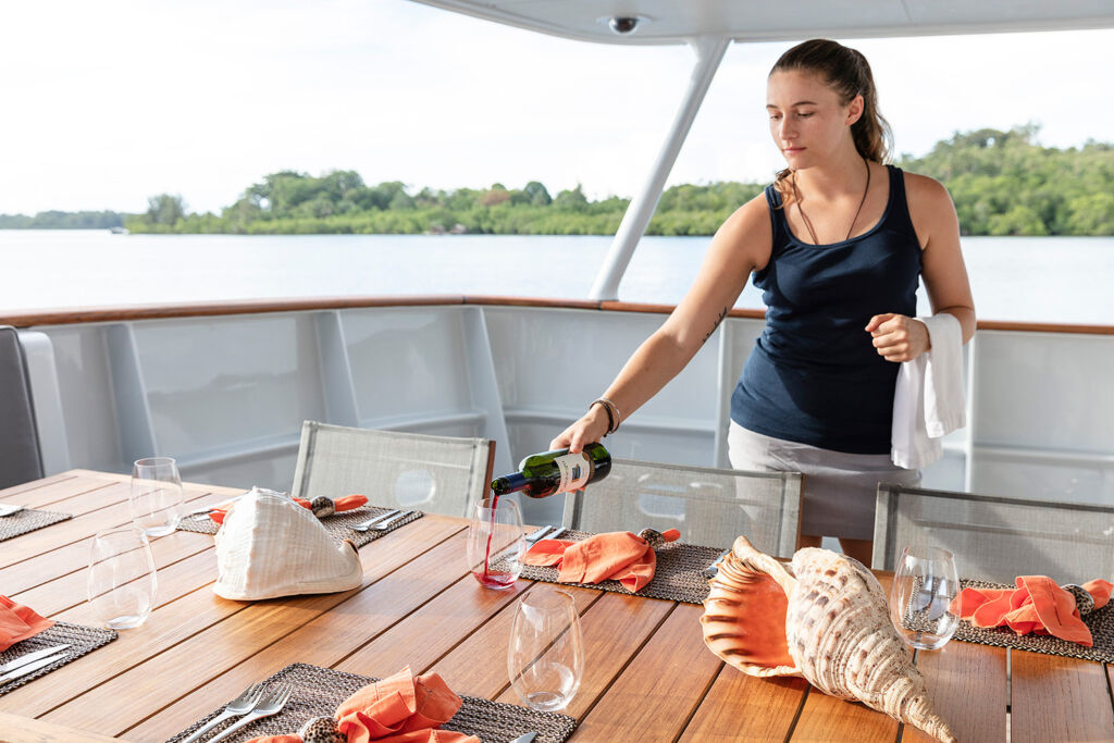 A crewmember preparing a bespoke meal onboard Dardanella