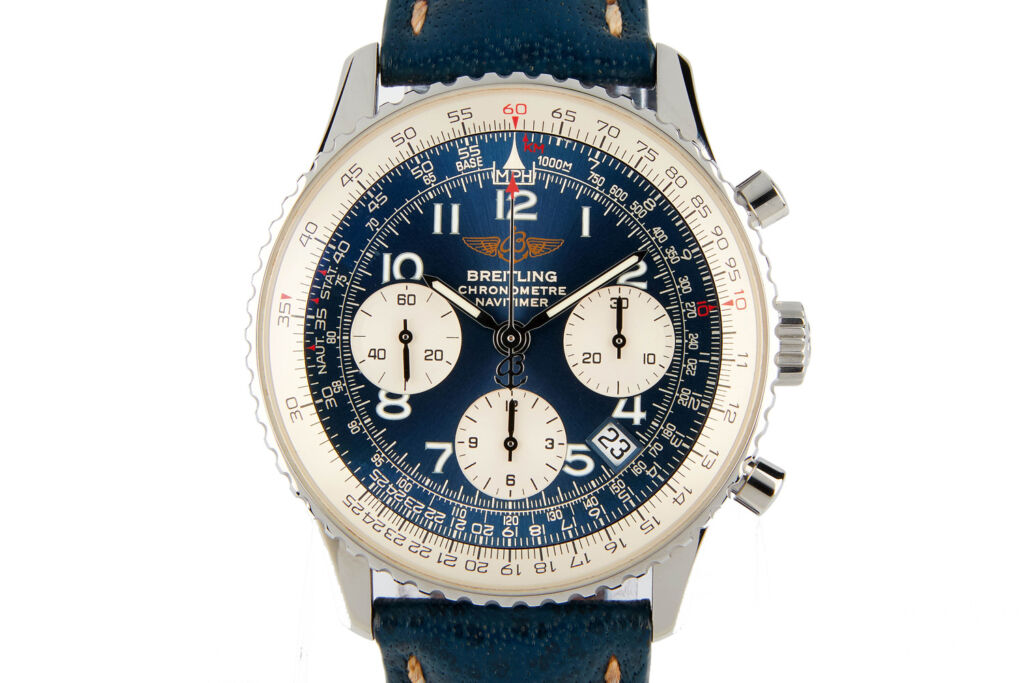 A front on view of the Breitling Navitimer