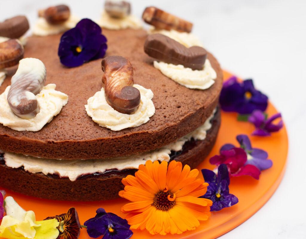 Chocolate Victoria Sponge with Fresh Cream and Guylian chocolate by Majella