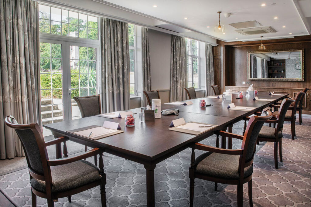 Inside one of the luxurious conference rooms on the estate
