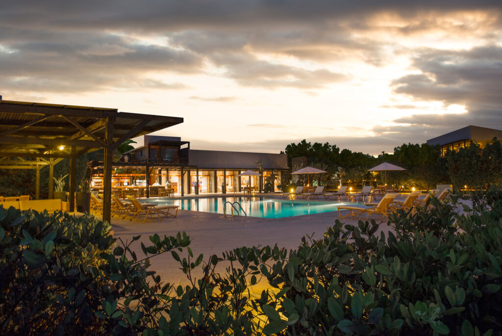 Finch Bay Galapagos Hotel at night